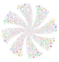Geometric shapes fireworks swirl flower vector