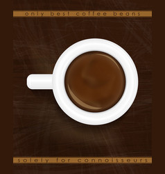 Cup of espresso top view coffee background design vector