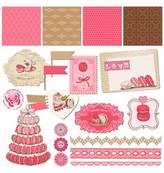 Macaroons and dessert collection vector