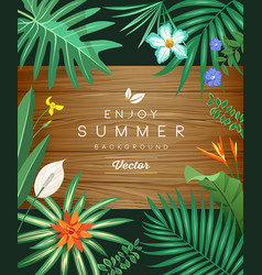 Tropical green leaf and flower on wood background vector