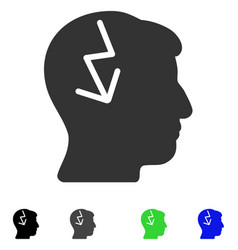 Brain electric strike flat icon vector