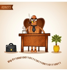 Big boss with coffee sitting at the desk vector image