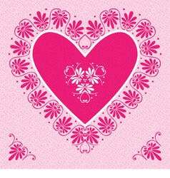 Valentines Day Card with pink heart vector image