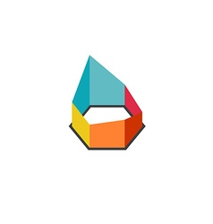 3D construction geometric abstract colorful logo vector image