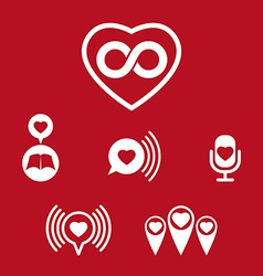 Love theme icons set conceptual valentine and vector