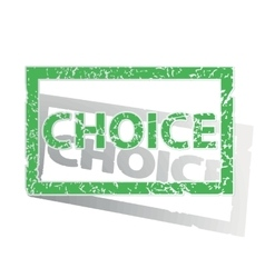 Green outlined choice stamp vector