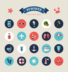 Summer holidays icon set flat design colorful vector