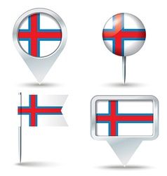 Map pins with flag of faroe islands vector