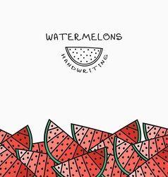 Background pattern of watermelon handmade design vector