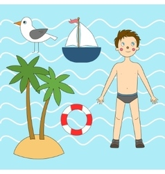 Summer sea set vector