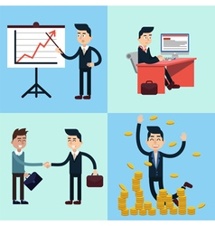 Successful businessman career set vector