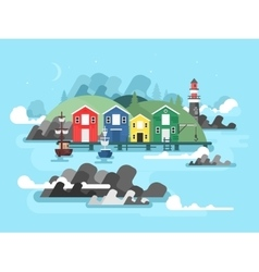 Port sea or ocean harbour vector