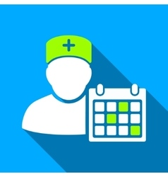 Doctor appointment flat long shadow square icon vector
