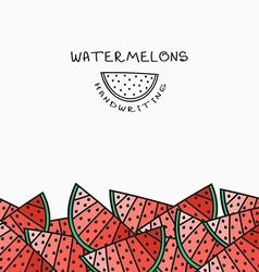 Background pattern of watermelon handmade design vector