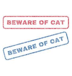 Beware of cat textile stamps vector