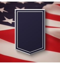 Blank blue shield on top of american flag vector