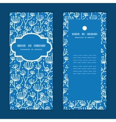blue white lineart plants vertical frame vector image vector image