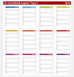 Calendar 2014 English Type 5 vector image vector image
