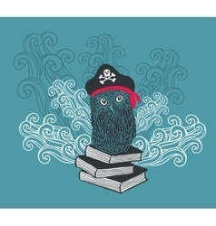 Captain owl with adventure books vector