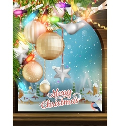 Christmas theme - window with a kind eps 10 vector