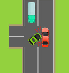 clash of cars on t-junction flat diagram vector image