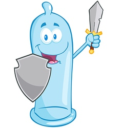 Condom With Shield And Sword vector image