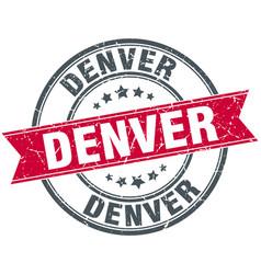 Denver red round grunge vintage ribbon stamp vector