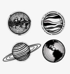 differents planets in the galaxy space vector image vector image