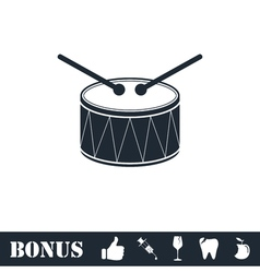 Drum icon flat vector image vector image