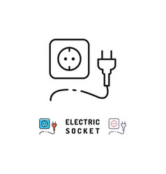 electric socket and plug icons electricity sign vector image