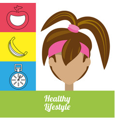 Fitness woman with fruits chronometer and vector