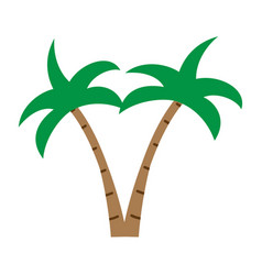 Flat color coconut tree icon vector