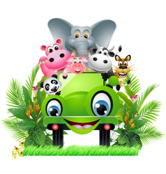 funny animal cartoon in green car vector image