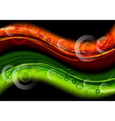 green and orange dark waves vector image vector image