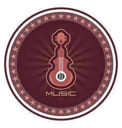 guitar round emblem vector image vector image