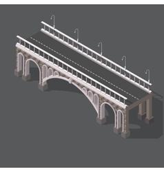 Isometric drawing of a stone bridge vector