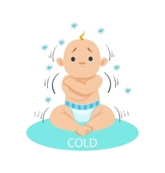 Little baby boy in nappy shivering of cold part vector