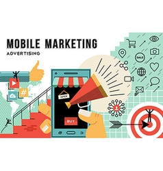 Mobile marketing and advertising concept line art vector image vector image