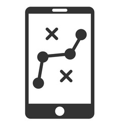 mobile navigation route flat icon vector image