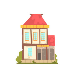 old two storey house with red roof retro vector image