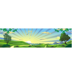 panorama - the landscape of the russian steppe vector image vector image