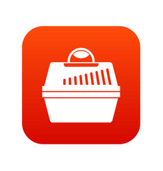 portable cage for pets icon digital red vector image