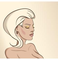 Portrait of woman nude color03 vector
