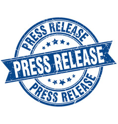 Press release round grunge ribbon stamp vector