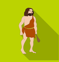 primitive man with truncheon icon in flate style vector image vector image