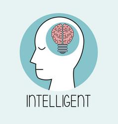 Profile human head brain intelligent vector