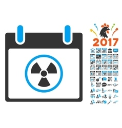 Radioactive calendar day flat icon with vector