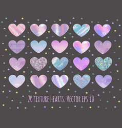 set of 20 glittermarble and holographic hearts vector image