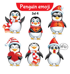 set of christmas penguin characters set 4 vector image
