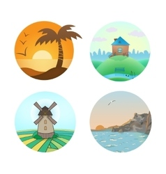 set of landscape vector image